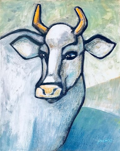 White Cow. Acrylic and pastel on canvas, 40x50 cm. 2018
