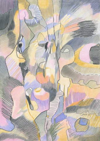 The Secret Garden I. Color pencils on paper, 21x29,7 cm. 2017